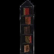 Vintage Doll Miniature Corner Bookcase W/ Faux Books Dollhouse
