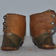 Antique Doll Shoes Boots Leather Heels J & J Trade Mark French