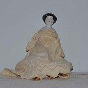 Old Doll China Head Miniature Smiling Dollhouse