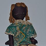 Old Doll Cloth Doll Rag Doll Black Folk Art Stockinette