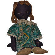 Old Doll Cloth Doll Rag Doll Black Folk Art Stockinette