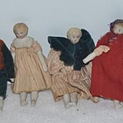 Antique Doll Set Miniatures China Head Bisque Dollhouse TEN Dolls Dressed!!