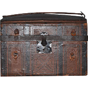 Wonderful Antique Doll Trunk Dome W/ Insert and Litho and French Doll Head Bisque W/ Clothing