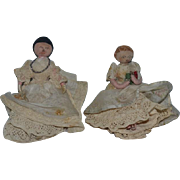 Old Doll Set Cloth Dolls Folk Art Unusual Stockinette Heads Painted Features Miniature Dollhouse