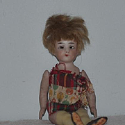 Antique Doll Miniature All Bisque Thigh High Yellow Stockings Dollhouse Bruno Schmidt RARE