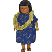 Vintage Doll Wood Carved Beckett Originals 1 and ONLY Signed Artist Hawaiian Girl Iris OOAK