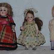 Antique Doll Set Dolls Miniature All Bisque Lot Glass Eyes