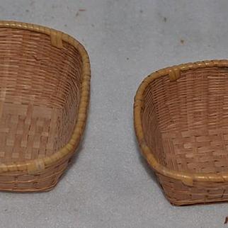 Old Doll Miniature Hand Made Woven Baskets W/ Original Tag Mrs. Miriam Blaich Wonderful Two Baskets