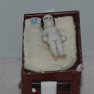 Old Doll Frozen Charlotte Miniature on Old Metal Washing Stand Dollhouse