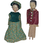 Old Doll Wood Carved Grodnertal Dolls Set Man and Woman Pair