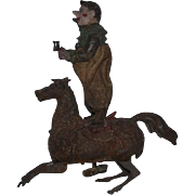 Antique Doll Tin Toy Clown on Horse Wind Up
