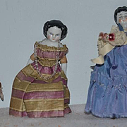 Antique Doll China Head Miniature Dolls Set Three dolls Dollhouse