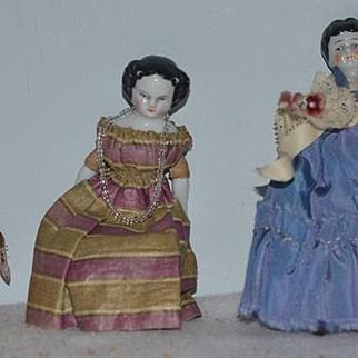 Antique Doll China Head Miniature Dolls Set Three dolls Dollhouse
