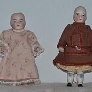 Antique Doll Set Pair All Bisque Adorable Best Friends Miniature Dollhouse
