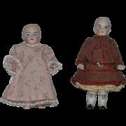 Antique Doll Set Pair All Bisque Adorable Best Friends Miniature Dollhouse
