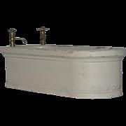 Old Doll Wood Miniature Bath Tub W/ Metal Faucet Charming Dollhouse