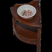 Vintage Doll Miniature Wood Corner Cabinet Wash Stand Signed Artist Werner? Werme?