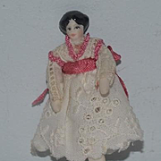 Vintage Doll Artist China Head Miniature TINY Dollhouse Jointed