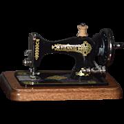 Wonderful Miniature Doll Bodo Hennig Sewing Machine Metal Working Dollhouse W/ Wood Base Rare