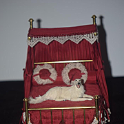 Vintage Doll Miniature Bed W/ Bedding Fancy Canopy Dollhouse
