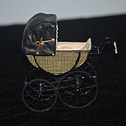 Wonderful Doll Miniature Pram Carriage Stroller Dollhouse Artist Signed CYR