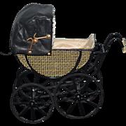 Wonderful Doll Miniature Pram Carriage Stroller Dollhouse Artist Signed CYR
