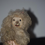 Old French Dog Poodle Wind up For your French Fashion Doll Friend Glass Eyes Dancing Poodle