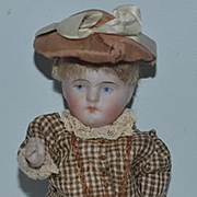 Antique Doll Miniature Dollhouse All Bisque Dressed ADORABLE