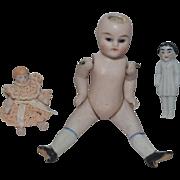 Antique Doll Set All Bisque Doll Miniature Frozen Charlotte & Miniature Dollhouse