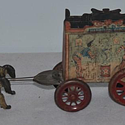 Antique Doll Toy Tin Litho Harrison Circus Wagon W/ Horses Drawn Buggy Wagon