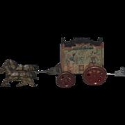 Antique Doll Toy Tin Litho Harrison Circus Wagon W/ Horses Drawn Buggy Wagon
