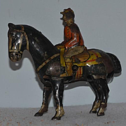 Old Doll Toy Tin Litho Jockey On Horse Wind Up Toy German