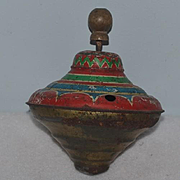 Old Miniature Spinning Top Tin & Litho For Doll Display Miniature