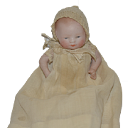 Antique Doll All Bisque Grace S. Putnam Bye -Lo Baby German Character Baby Doll Miniature Dollhouse