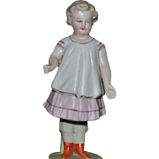 Antique Doll Bisque Nodder Figurine All Bisque Wonderful Miniature Rare Petite Bowing Girl