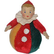 Wonderful Steiff Roly Poly Tagged Steiff Clown Jester W/ Button Jointed