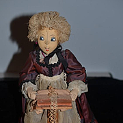 Wonderful Old Cloth Doll Character Sewing Lace Maker W/ Old Paper Provenance