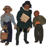 Old Doll Set Wood Doll Carved Character Dolls