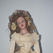 Antique Doll Wax Glass Eyes Fashion Doll Gorgeous
