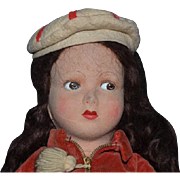 Old Doll Farnell Felt Doll Wonderful Character Face Original Clothing Farnell's Alpha