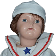 Antique Doll Schoenhut Wood Carved Jointed Sailor Boy W/ Old Miniature Wood Yo-yo Toy