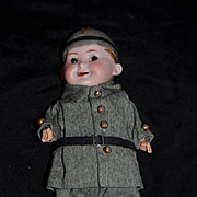 Antique Doll Bisque Helmet Googly Max Handwerck w/ Unusual Open Mouth Character Chubby