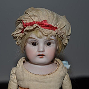 Antique Doll Bisque Head and Small Chunky Leather Body Unusual