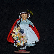 Vintage Doll Artist Doll Peddler Doll Miniature Signed Wood Dollhouse