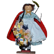 Vintage Doll Artist Doll Peddler Doll Miniature Signed Wood Dollhouse