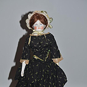 Old  Biedermeier China Head Doll Solid Dome