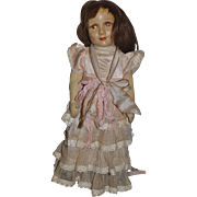 Old Rare Doll Dora Petzold Oil Cloth Rag Doll Wonderful Features