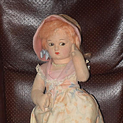 Vintage Doll Cloth Doll Dean's Rag Doll Felt Doll Fancy