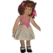 Old Cloth Doll Eugenie Poir of Gre-Poir Cloth Doll Painted