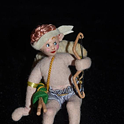 Vintage Doll Cloth Doll Cupid Angel W/ Bow and Arrow Roldan